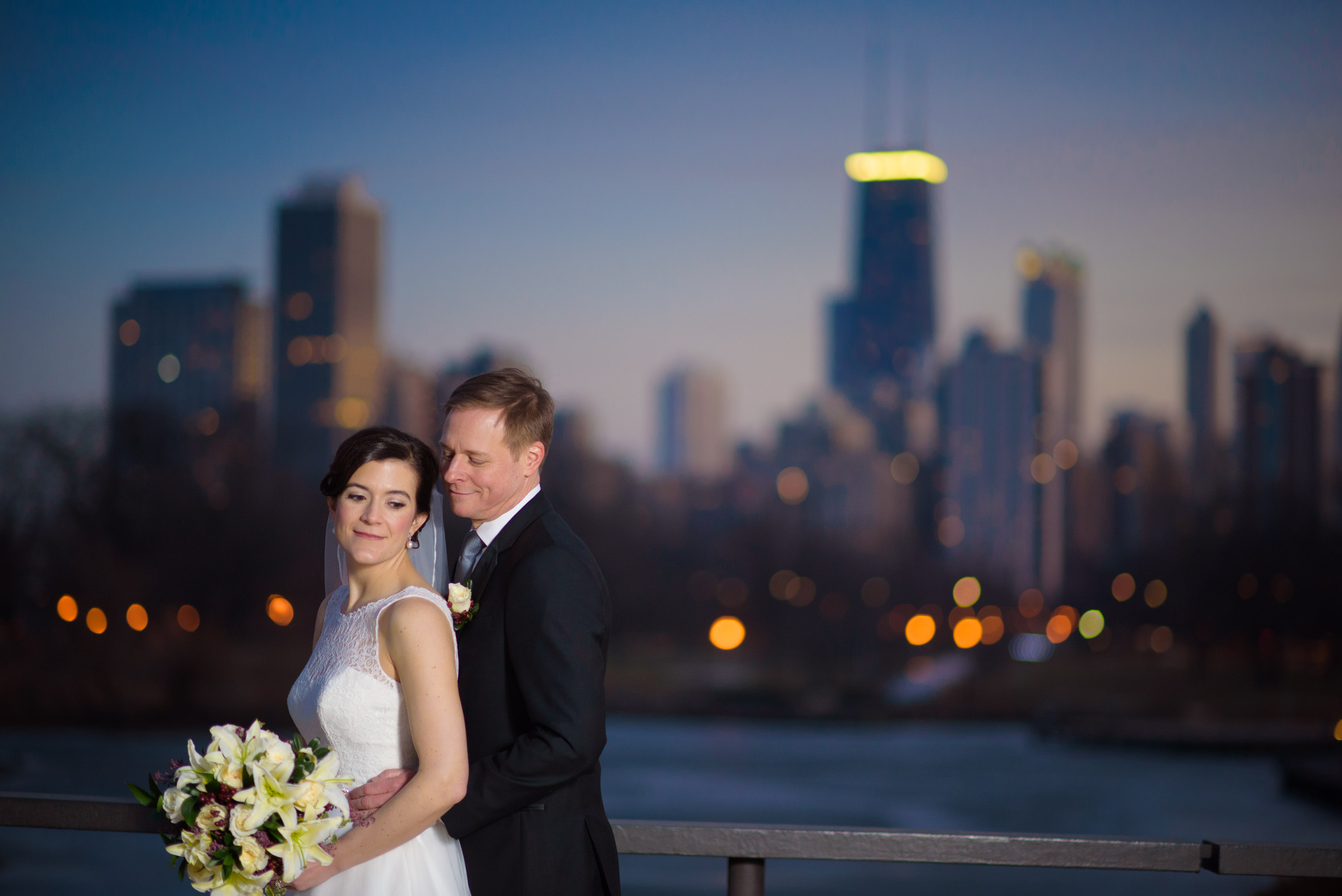 Bride Groom Evening Bridge Over South Pond Chicago
