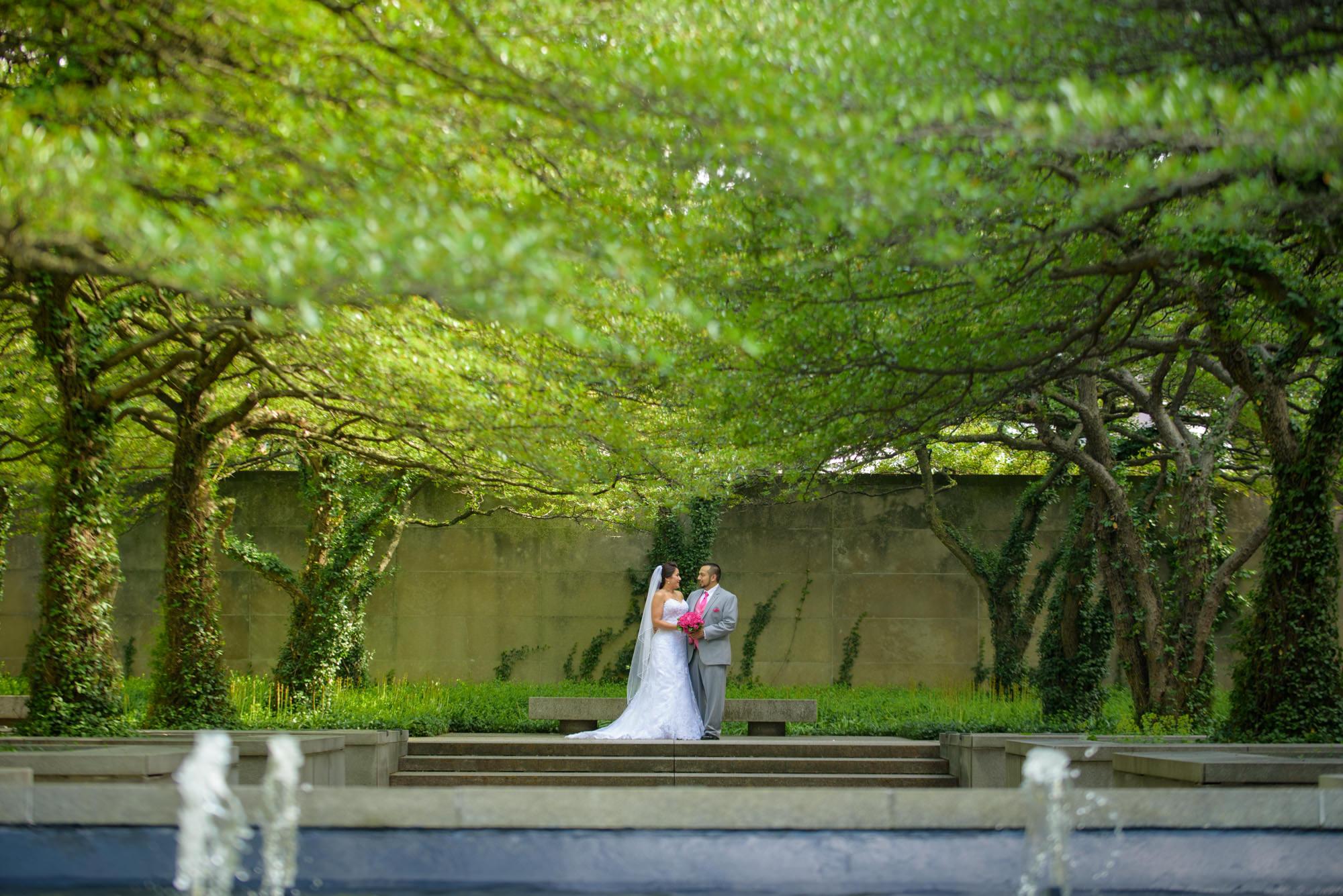 Bride Groom Chicago Art Institute South Garden Trees