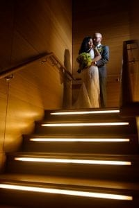 Bride Groom Chicago Floating World Gallery stair lights