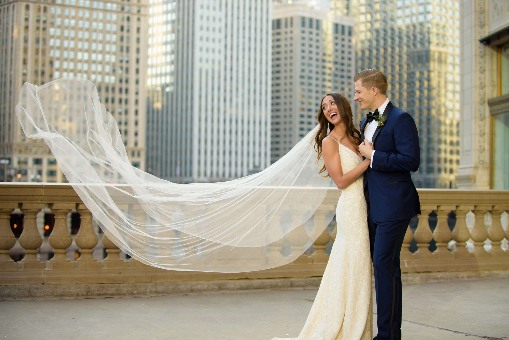Bride Groom Flying Veil Chicago Wrigley Building