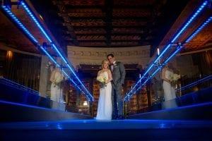 Bride Groom Intercontinental Chicago blue light restaurant