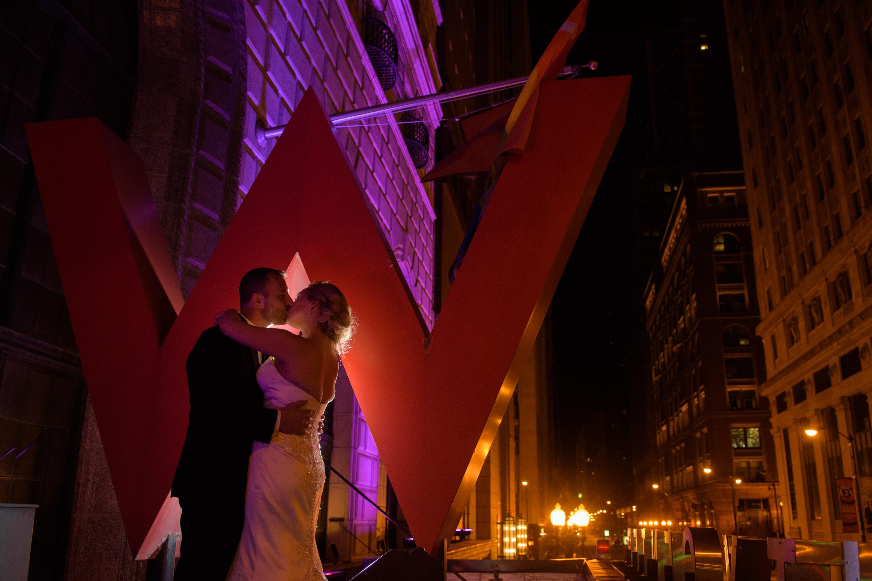 Bride Groom W City Center Chicago Sign