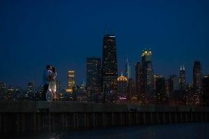 Chicago Engagement North Avenue Beach Skyline