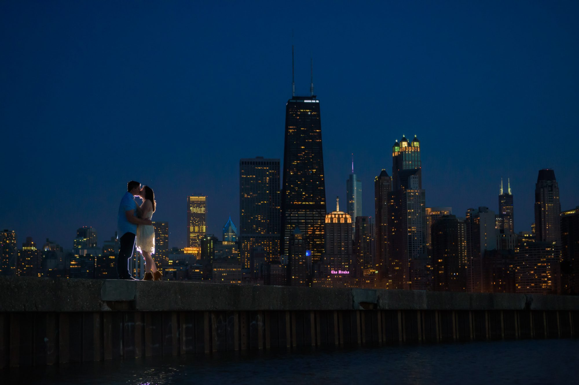 Chicago Engagement North Avenue Beach Skyline