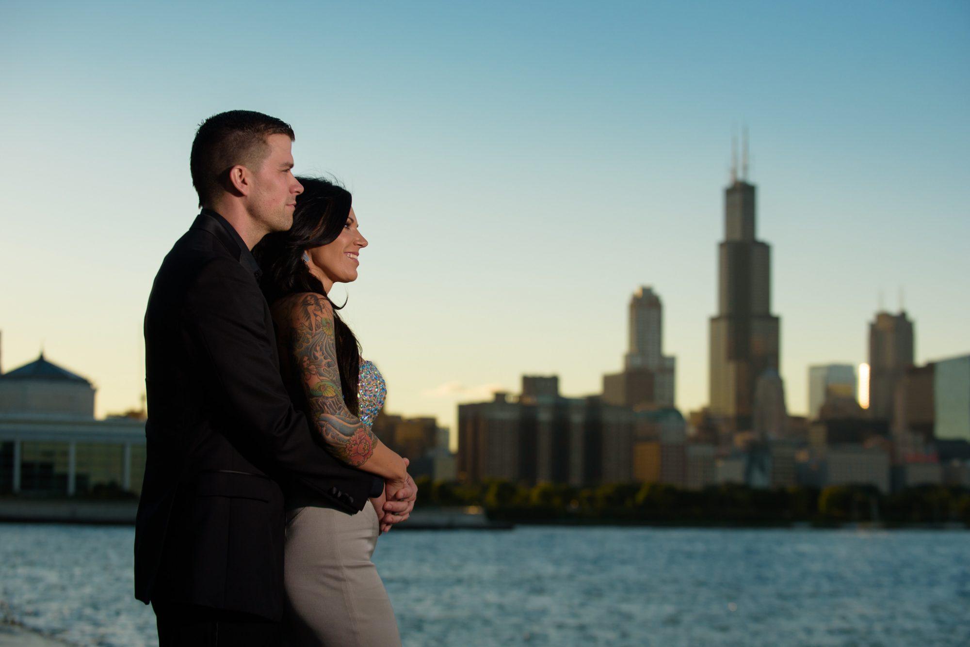 Engagement Chicago Lakeshore Skyline