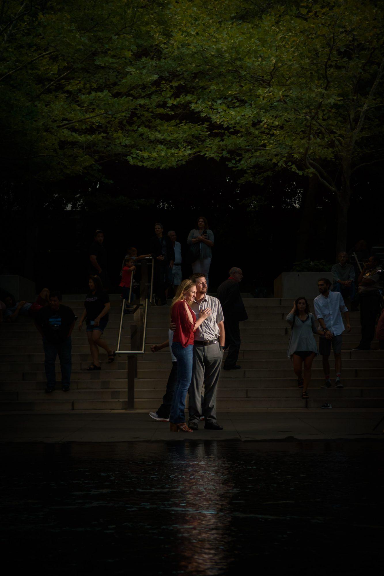 Engagement Chicago Crown Fountain dark background