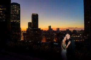 Engagement Chicago Sunset Skyline