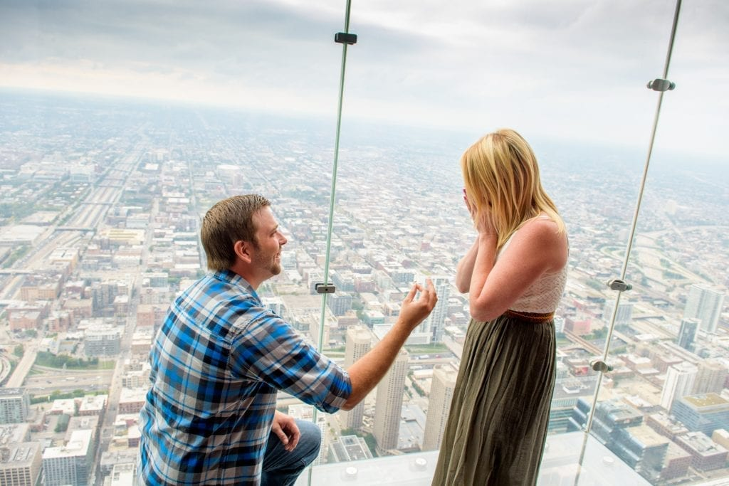 surprise proposal willis tower chicago
