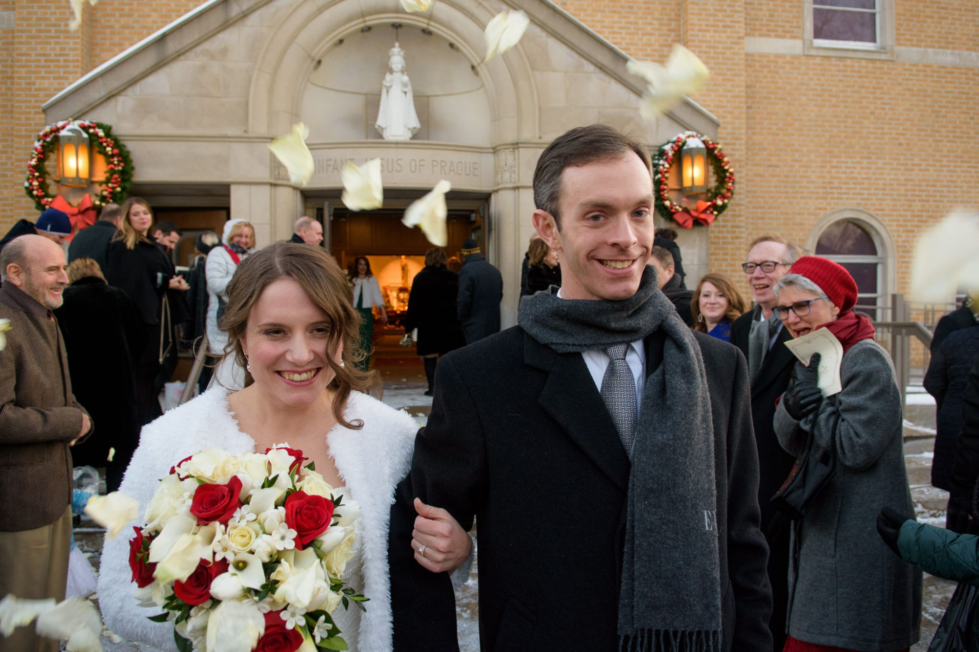 Bride Groom church wedding winter